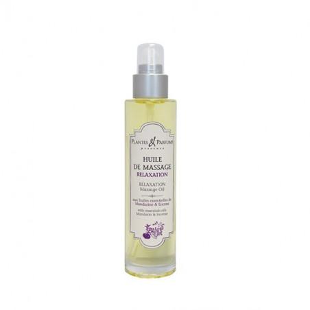 Huile de Massage Relaxation aux huiles essentielles de mandarine rouge et d'encens - 100ml