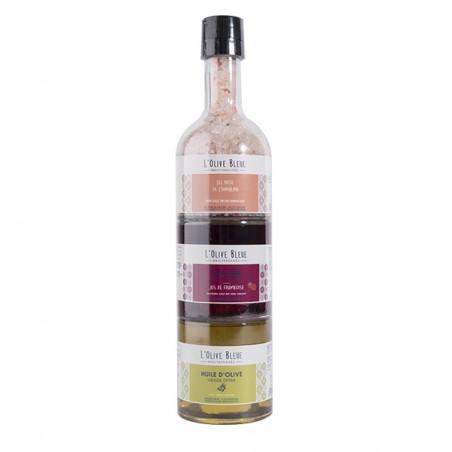 Trio de flacons empilables : Sel de l'Hymalaya, Huile d'Olive vierge extra et vinaigre jus de Framboise