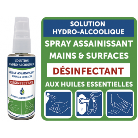 Solution Hydroalcoolique aux huiles essentielles en spray 100ml Unitaire