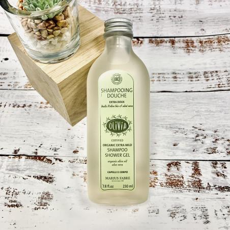 Shampooing douche à l'huile d'olive et à l'aloe vera, certifié BIO - 230 ml