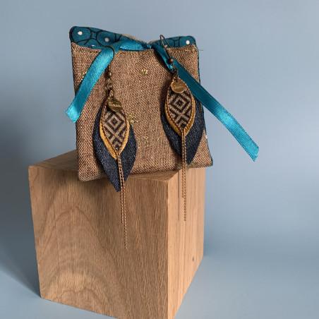 Boucle d'oreille et pochette bronze et jean - Lunuii